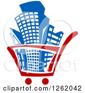 Clipart Of A Shopping Cart Full Of Buildings Royalty Free Vector Illustration by Seamartini Graphics