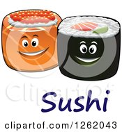 Clipart Of Happy Sushi Rolls Over Text Royalty Free Vector Illustration