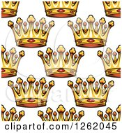 Clipart Of A Seamless Background Pattern Of Gold Ruby Crowns Royalty Free Vector Illustration