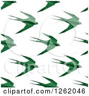 Seamless Background Pattern Of Green Origami Birds