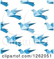 Clipart Of A Seamless Background Pattern Of Blue Origami Birds Royalty Free Vector Illustration by Vector Tradition SM