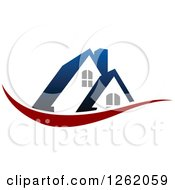 Clipart Of A House With A Blue Roof Over A Red Swoosh Royalty Free Vector Illustration