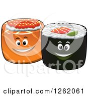 Clipart Of Happy Sushi Rolls Royalty Free Vector Illustration