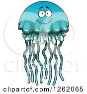Clipart Of A Blue And Green Jellyfish Character Royalty Free Vector Illustration by Vector Tradition SM