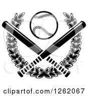 Clipart Of A Black And White Baseball Over Crossed Bats And A Laurel Wreath Royalty Free Vector Illustration by Seamartini Graphics