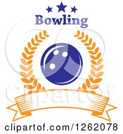 Poster, Art Print Of Blue Bowling Ball In A Laurel Wreath Over A Blank Banner Under Text And Stars