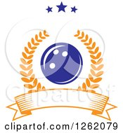 Poster, Art Print Of Blue Bowling Ball In A Laurel Wreath Over A Blank Banner Under Stars