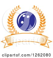 Clipart Of A Blue Bowling Ball In A Laurel Wreath Over A Blank Banner Royalty Free Vector Illustration by Vector Tradition SM