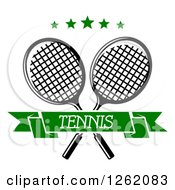 Clipart Of Crossed Tennis Rackets With Green Stars And A Text Banner Royalty Free Vector Illustration
