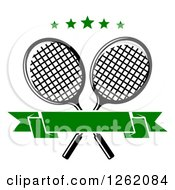 Clipart Of Crossed Tennis Rackets With Green Stars And A Blank Banner Royalty Free Vector Illustration