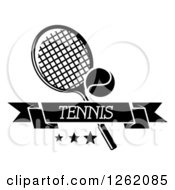 Clipart Of A Black And White Tennis Racket And Ball With Stars And A Text Banner Royalty Free Vector Illustration