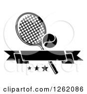 Clipart Of A Black And White Tennis Racket And Ball With Stars And A Blank Banner Royalty Free Vector Illustration