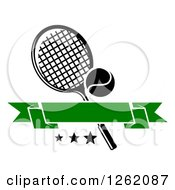 Clipart Of A Tennis Racket And Ball Withstars And A Green Blank Banner Royalty Free Vector Illustration