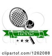 Clipart Of A Tennis Racket And Ball With Stars And A Green Banner Royalty Free Vector Illustration