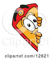 Clipart Picture Of A Price Tag Mascot Cartoon Character Peeking Around A Corner