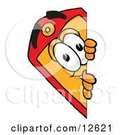 Price Tag Mascot Cartoon Character Peeking Around A Corner