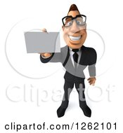 Clipart Of A 3d Bespectacled Macho White Businessman Holding Out A Business Card Royalty Free Illustration