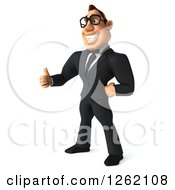 Clipart Of A 3d Bespectacled Macho White Businessman Giving A Thumb Up Royalty Free Illustration