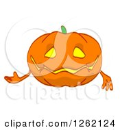 Clipart Of A Jackolantern Pumpkin Presenting Royalty Free Illustration by Julos
