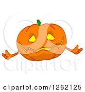 Clipart Of A Jackolantern Pumpkin Shrugging Royalty Free Illustration by Julos