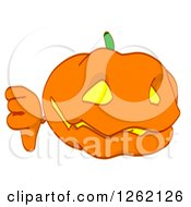 Clipart Of A Jackolantern Pumpkin Holding A Thumb Down Royalty Free Illustration by Julos