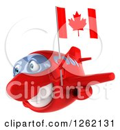 Clipart Of A 3d Happy Red Airplane Flying With A Canadian Flag Royalty Free Illustration