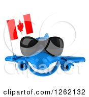 Clipart Of A 3d Happy Blue Airplane Wearing Sunglasses And Flying With A Canadian Flag Royalty Free Illustration