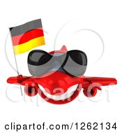 Clipart Of A 3d Happy Red Airplane Wearing Sunglasses And Flying With A German Flag Royalty Free Illustration