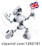 Clipart Of A 3d White And Blue Robot Jumping With A British Flag Royalty Free Illustration