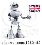 Clipart Of A 3d White And Blue Robot Presenting A British Flag Royalty Free Illustration