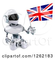 Clipart Of A 3d White And Blue Robot Holding Up A British Flag Royalty Free Illustration