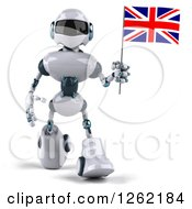 Clipart Of A 3d White And Blue Robot Walking With A British Flag Royalty Free Illustration