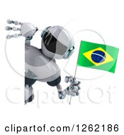 Clipart Of A 3d White And Blue Robot Holding A Brazilian Flag Around A Sign Royalty Free Illustration