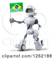 Clipart Of A 3d White And Blue Robot Walking With A Brazilian Flag Royalty Free Illustration