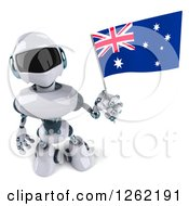 Clipart Of A 3d White And Blue Robot Holding Up An Australian Flag Royalty Free Illustration