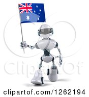 Clipart Of A 3d White And Blue Robot Walking With An Australian Flag Royalty Free Illustration