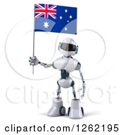 Clipart Of A 3d White And Blue Robot Holding An Australian Flag Royalty Free Illustration