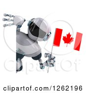 Clipart Of A 3d White And Blue Robot Holding A Canadian Flag Around A Sign Royalty Free Illustration