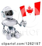 Clipart Of A 3d White And Blue Robot Holding Up A Canadian Flag Royalty Free Illustration