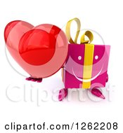 Clipart Of A 3d Happy Pink Gift Chacter Holding A Heart Royalty Free Illustration