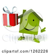 Clipart Of A 3d Happy Green House Character Holding A Gift Royalty Free Illustration