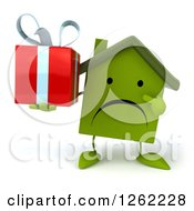 Clipart Of A 3d Unhappy Green House Character Holding A Gift Royalty Free Illustration