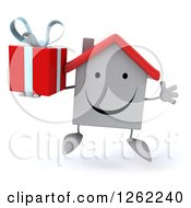Clipart Of A 3d Happy White House Character Jumping With A Gift Royalty Free Illustration