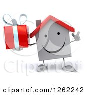 Clipart Of A 3d Happy White House Character Holding A Gift Royalty Free Illustration