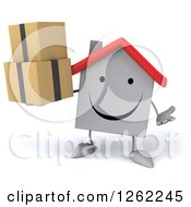 Clipart Of A 3d Happy White House Character Holding Boxes Royalty Free Illustration by Julos