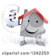 Clipart Of A 3d Happy White House Character Holding A Euro Symbol Royalty Free Illustration by Julos