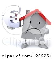Clipart Of A 3d Unhappy White House Character Holding A Euro Symbol Royalty Free Illustration by Julos