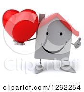 Clipart Of A 3d White House Character Holding A Heart And Thumb Up Royalty Free Illustration by Julos