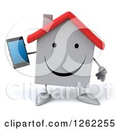 Clipart Of A 3d White House Character Holding A Cell Phone Royalty Free Illustration by Julos