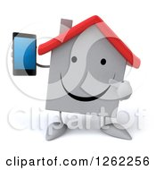 Clipart Of A 3d White House Character Holding And Pointing To A Cell Phone Royalty Free Illustration by Julos